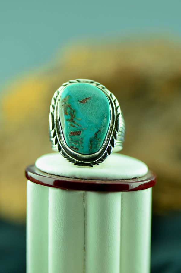 Navajo – Bisbee Turquoise Sterling Silver Ring Size 12 1/2