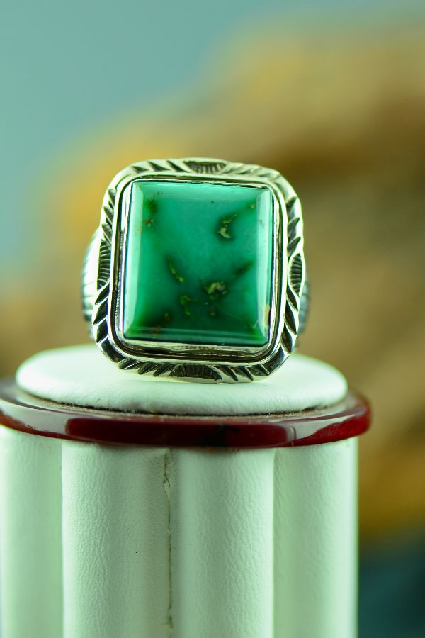 Navajo – Apache Turquoise Sterling Silver Ring Size 13