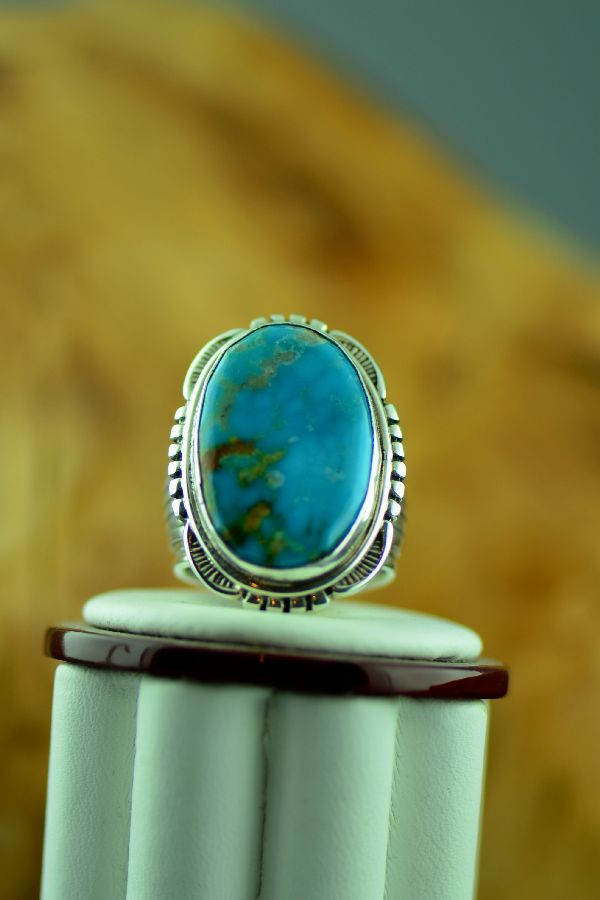 Navajo – Blue Gem Turquoise Sterling Silver Ring Size 9