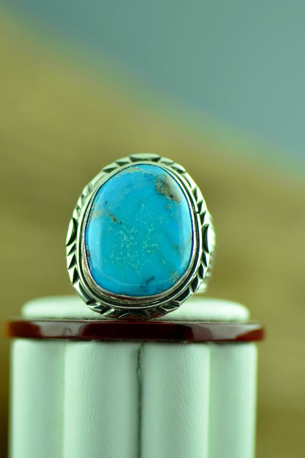 Navajo – Natural Morenci Turquoise Sterling Silver Ring Size 11 1/2