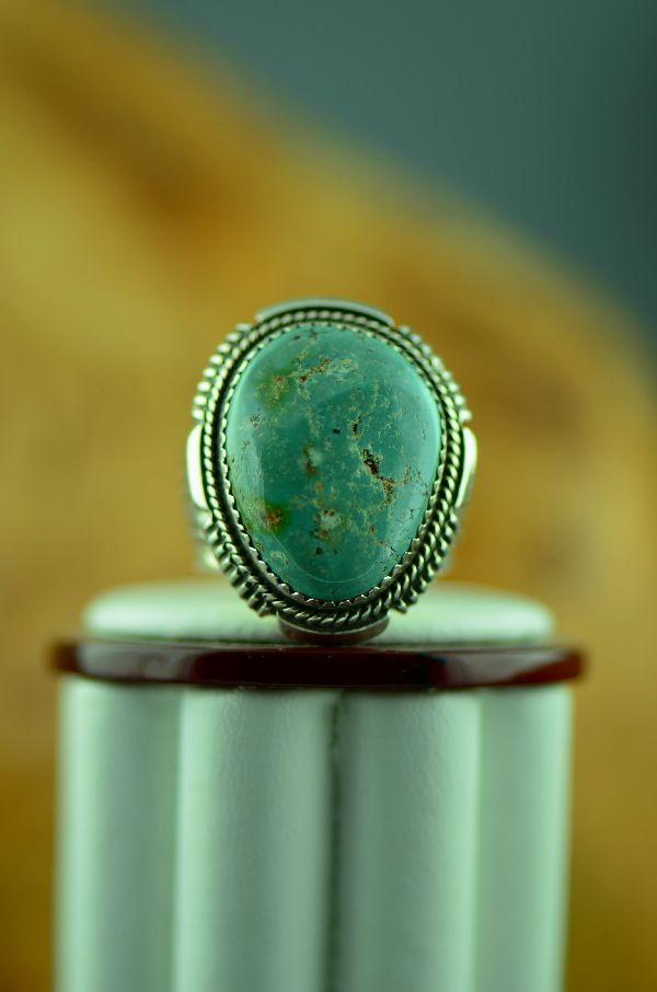 Navajo – Natural Fox Turquoise Sterling Silver Ring Size 9