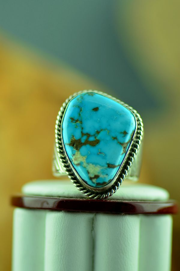 Navajo – Natural Red Mountain Turquoise Sterling Silver Ring Size 10