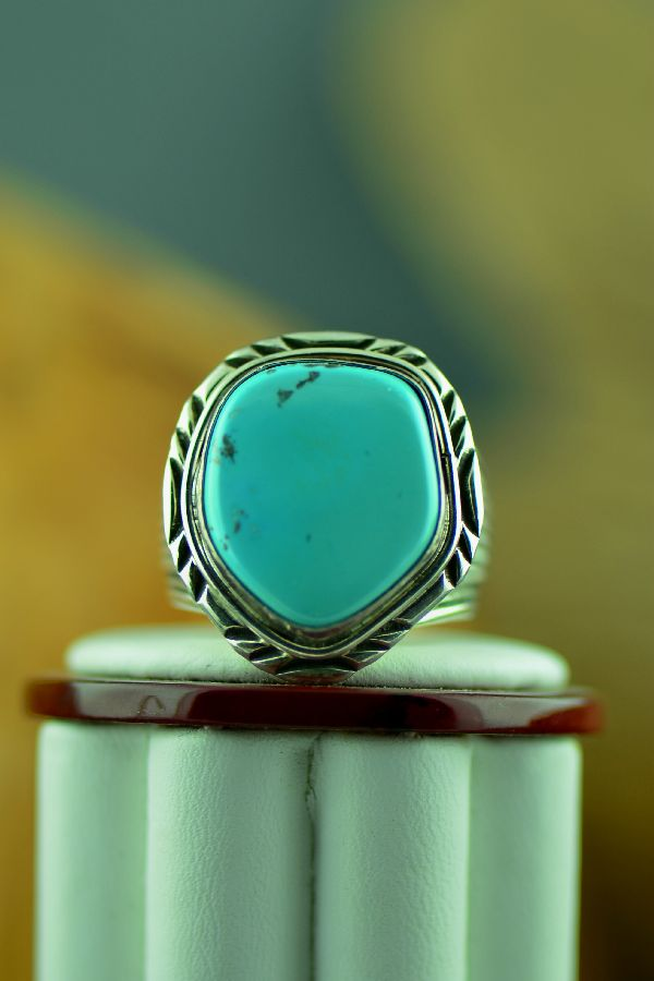 Navajo – Natural Darling Darlene Turquoise Sterling Silver Ring Size 11 1/2
