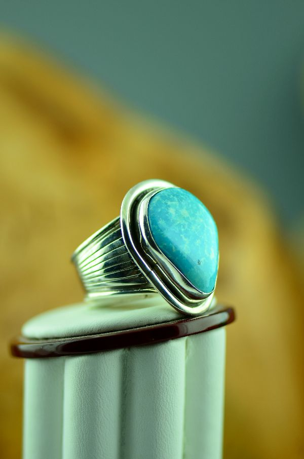 Navajo – Natural Fox Turquoise Sterling Silver Ring Size 12