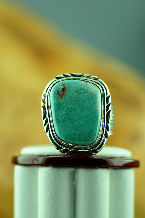 Navajo – Natural Fox Turquoise Sterling Silver Ring Size 11