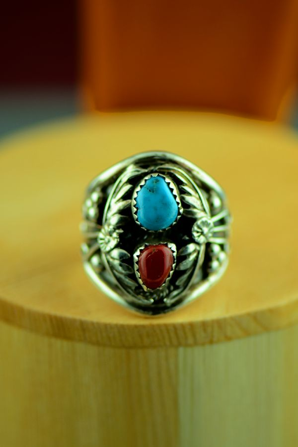 Navajo – Turquoise and Coral Sterling Silver Man's Ring Size 12 1/2