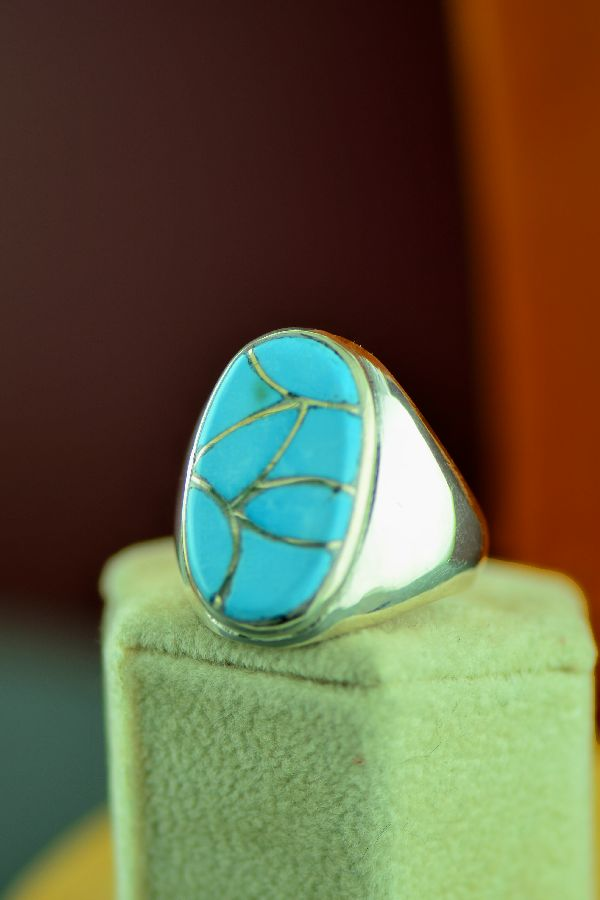 Navajo – Sterling Silver Inlaid Turquoise Ring Size 12 1/4