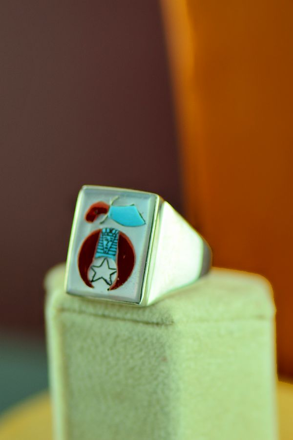 Zuni – High Quality Inlaid Turquoise, Mother of Pearl, and Coral Shriners Sterling Silver Man's Ring Size 12 3/4