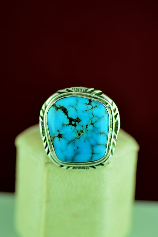 Navajo – Kingman Turquoise Sterling Silver Ring Will Denetdale Size 12 1/4