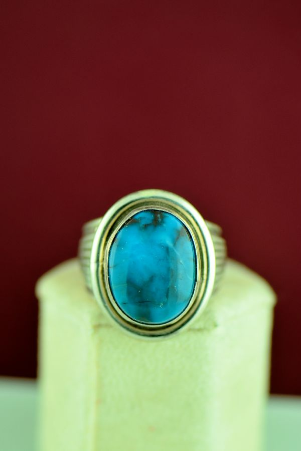 Navajo – Sterling Silver Bisbee Turquoise Ring Will Denetdale Size 12