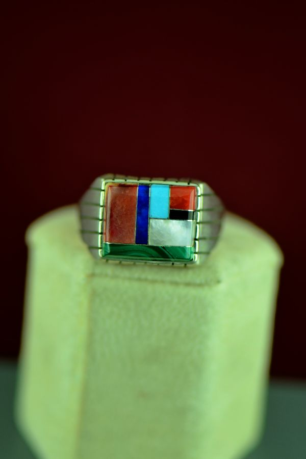 Navajo – Sterling Silver Inlaid Turquoise, Spiny Oyster Shell, Lapis, Coral, Malachite, Mother of Pearl and Jet Ring by Ray Jack Size 12