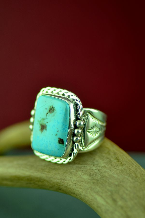 Navajo Morenci Turquoise Sterling Silver Ring by Tony Garcia Size 12 1/2