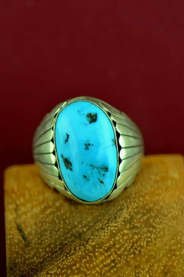 Navajo Sterling Silver Sleeping Beauty Turquoise Ring Size 14 1/4