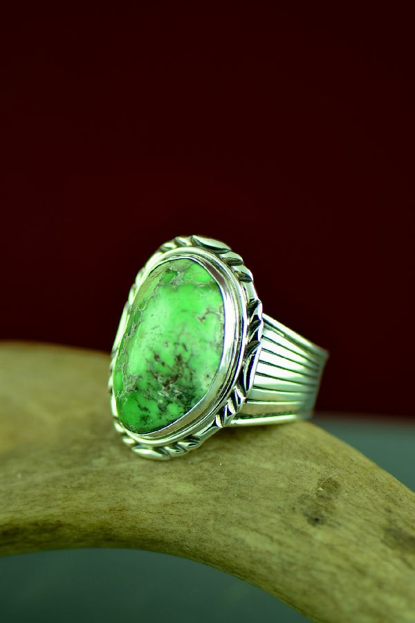 Will Denetdale Sterling Silver Damale Turquoise Navajo Ring Size 14 1/2