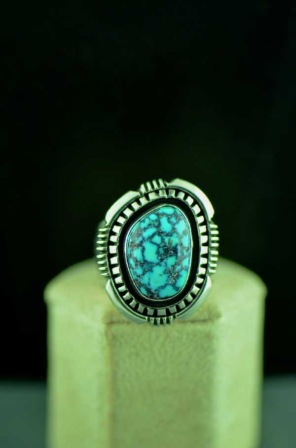 Navajo Sterling Silver Super X Turquoise Double Stack Ring Size 9