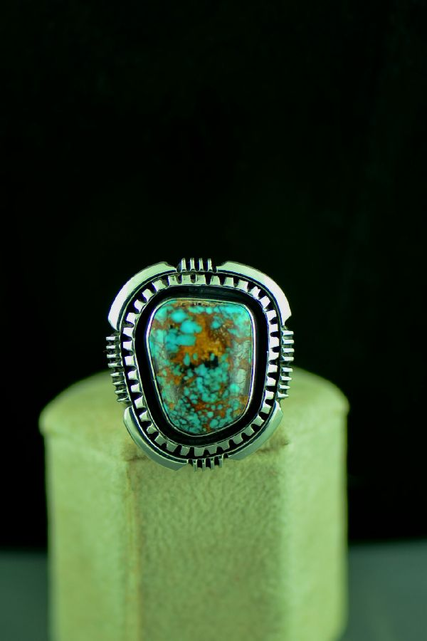 Navajo Sterling Silver High Grade Bisbee Turquoise Double Stack Ring Size 9