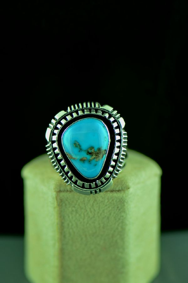Navajo Sterling Silver High Grade Morenci Turquoise Ring Size 10