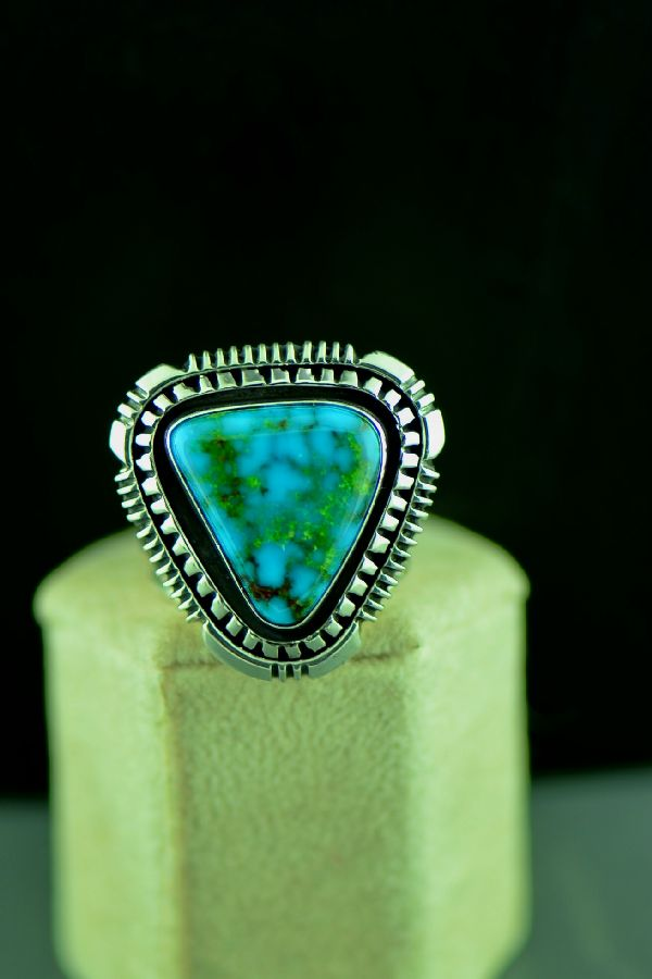 Navajo Sterling Silver High Grade Kingman Turquoise Double Stack Ring Size 10