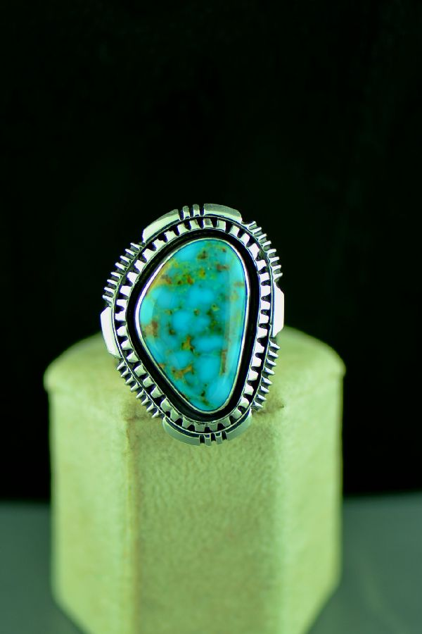 Navajo Will Denetdale Sterling Silver High Grade Kingman Turquoise Double Stack Ring Size 10