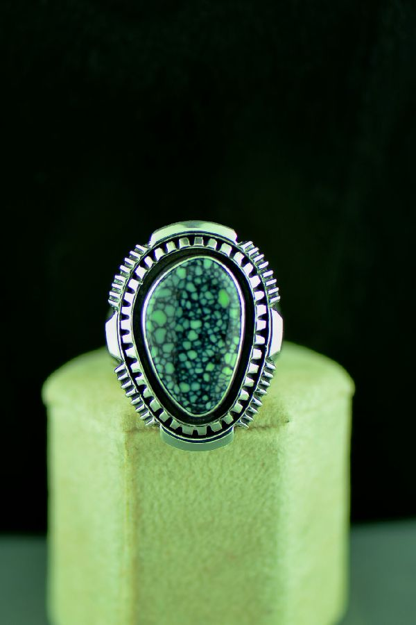 Navajo Sterling Silver New Landers Turquoise Double Stack Ring Size 9