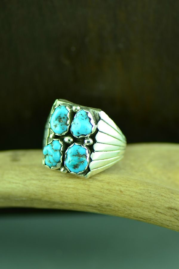 Navajo Sterling Silver Sleeping Beauty Turquoise Ring Size 12