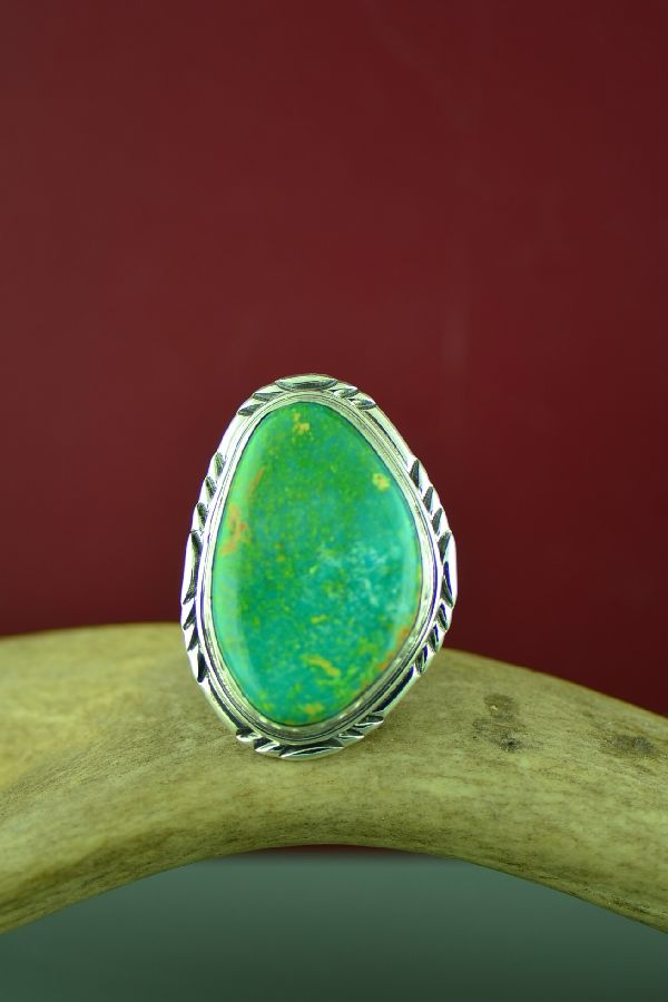 Navajo Sterling Silver Fox Turquoise Ring Size Will Denetdale Size 14