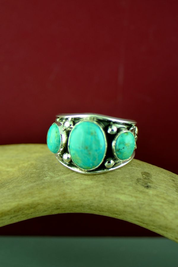 Navajo Sterling Silver 3 Stone Kingman Turquoise Ring Size Will Denetdale Size 14 1/4