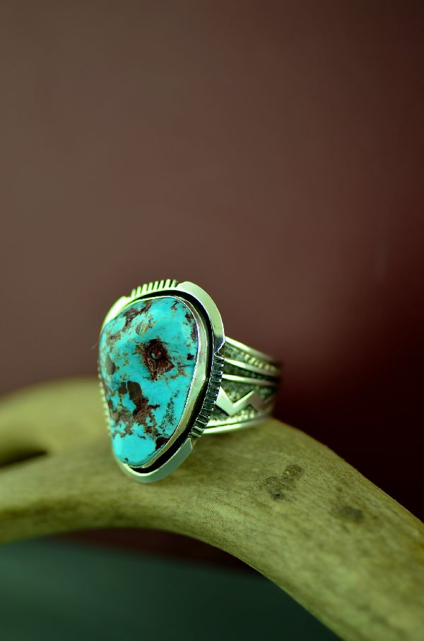 Navajo – Sterling Silver Red Skin Turquoise Ring Size Will Denetdale Size 12 1/2