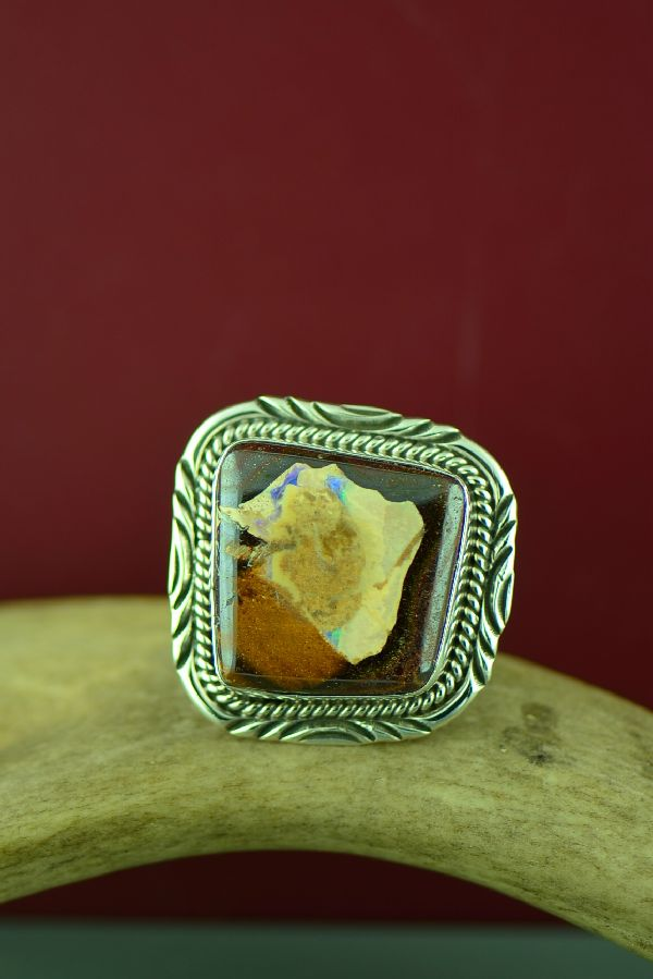 Navajo Sterling Silver Australian Boulder Opal Ring by Will Denetdale Size 13