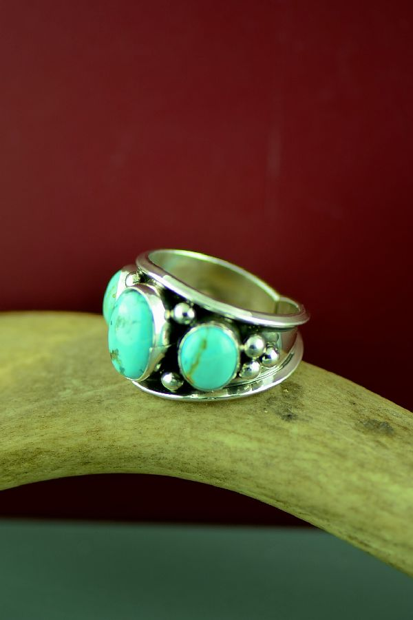 Navajo Sterling Silver 3 Stone Kingman Turquoise Ring Size Will Denetdale Size 13