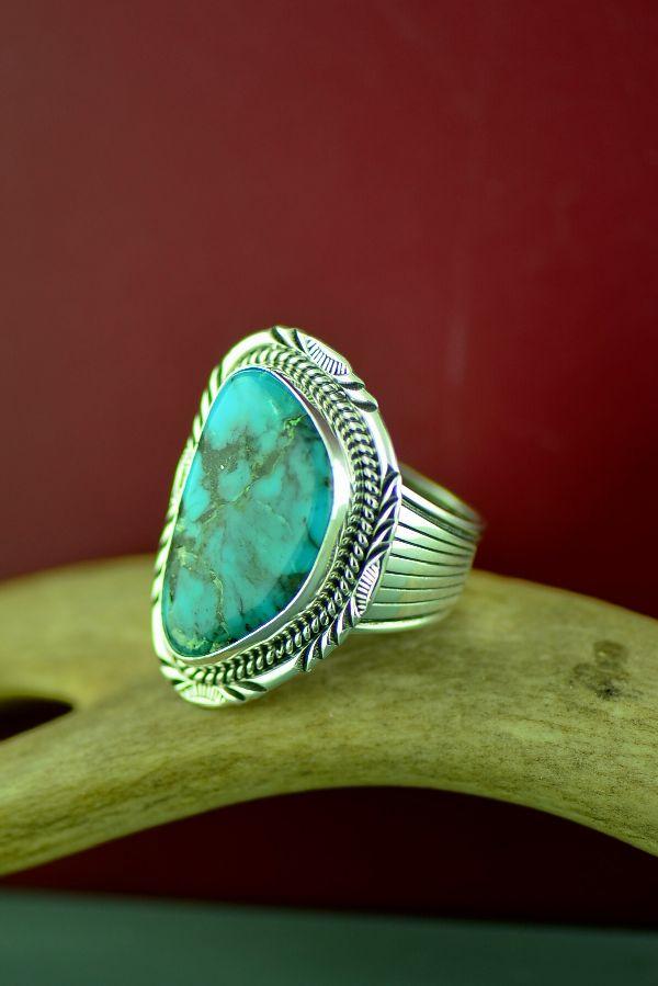 Navajo Sterling Silver Kingman Turquoise Ring Size Will Denetdale Size 12
