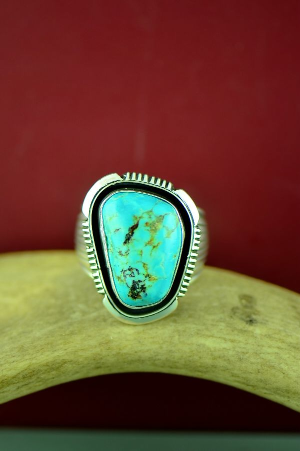 Navajo Sterling Silver Morenci Turquoise Ring Size Will Denetdale Size 12
