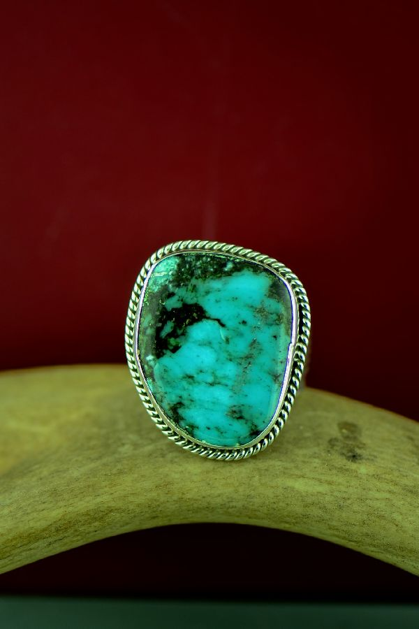 Navajo Sterling Silver Kingman Turquoise Ring Size Will Denetdale Size 13 1/2