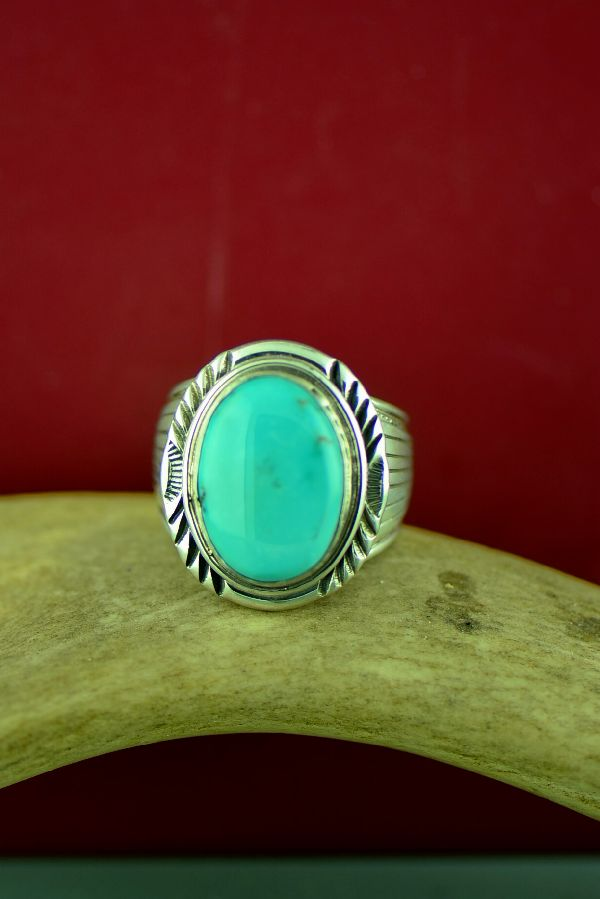 Navajo Sterling Silver Blue Moon Turquoise Ring Size Will Denetdale Size 11