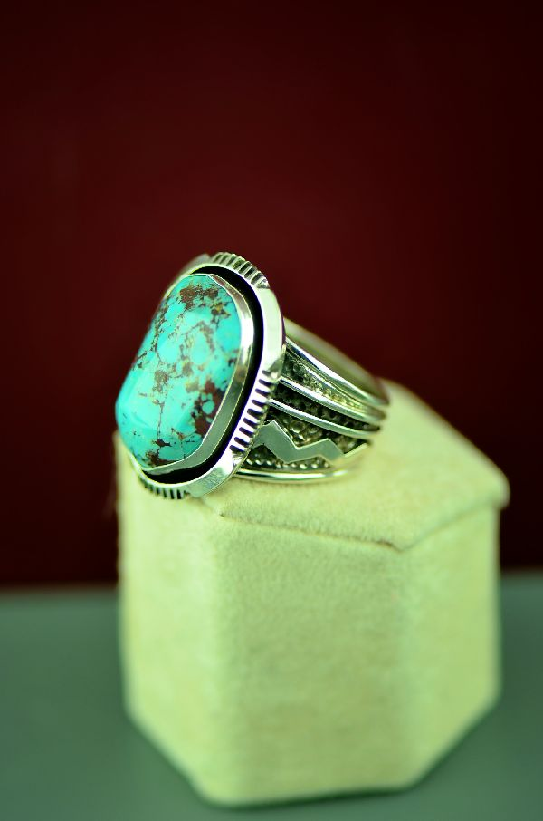 Navajo Sterling Silver Red Skin Turquoise Ring Size Will Denetdale Size 12