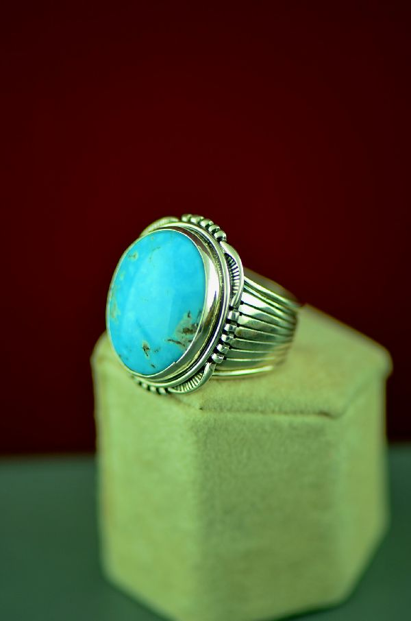 Navajo Sterling Silver Blue Gem Turquoise Ring by Will Denetdale Size 10 1/2