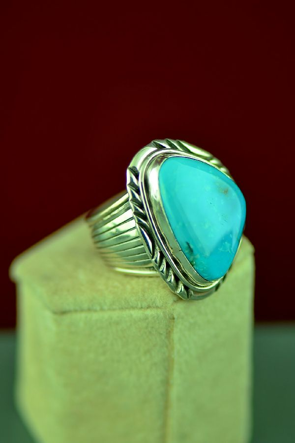 Navajo Sterling Silver Blue Gem Turquoise Ring Size Will Denetdale Size 10