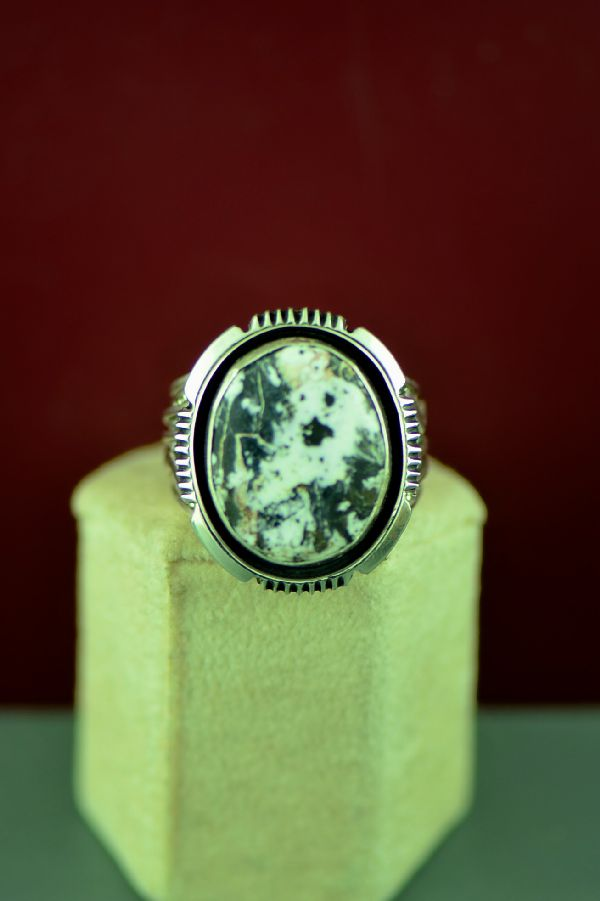 Navajo Sterling Silver White Buffalo Stone Ring Will Denetdale Size 14 1/2