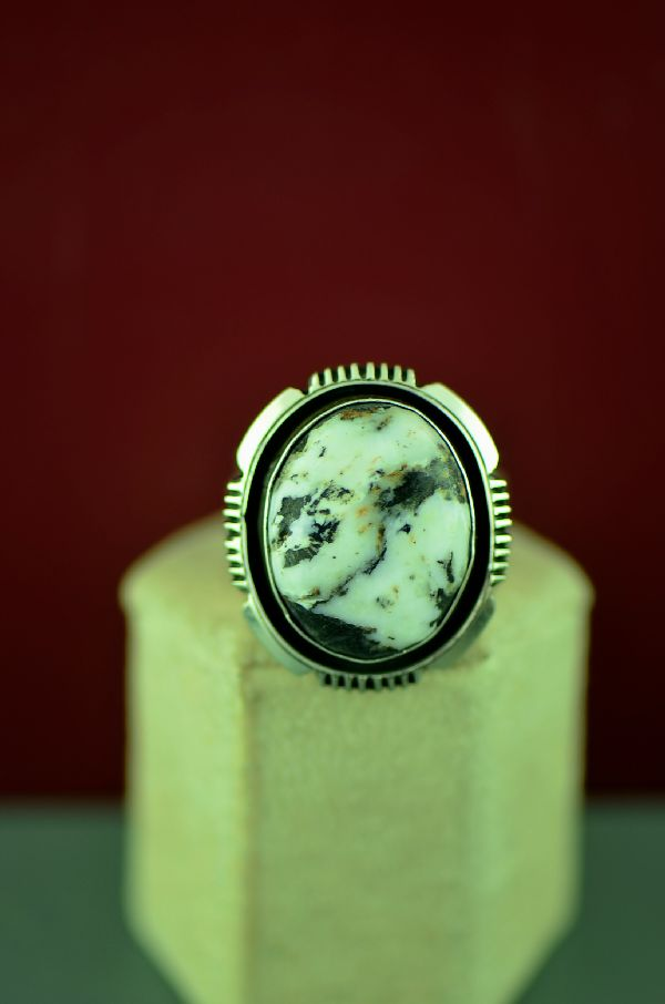 Navajo Sterling Silver White Buffalo Stone Ring Will Denetdale Size 12