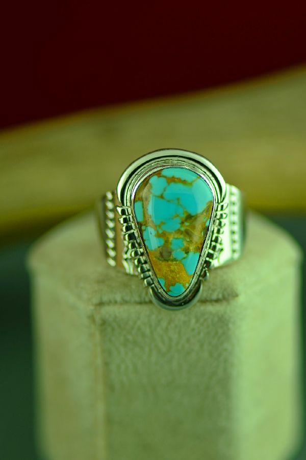 Navajo Sterling Silver Royston Turquoise Ring Size 12