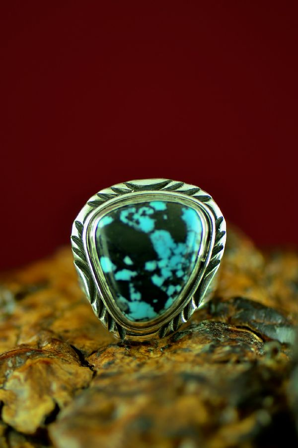 Navajo Sterling Silver Kingman Turquoise Ring by Will Denetdale Size 10