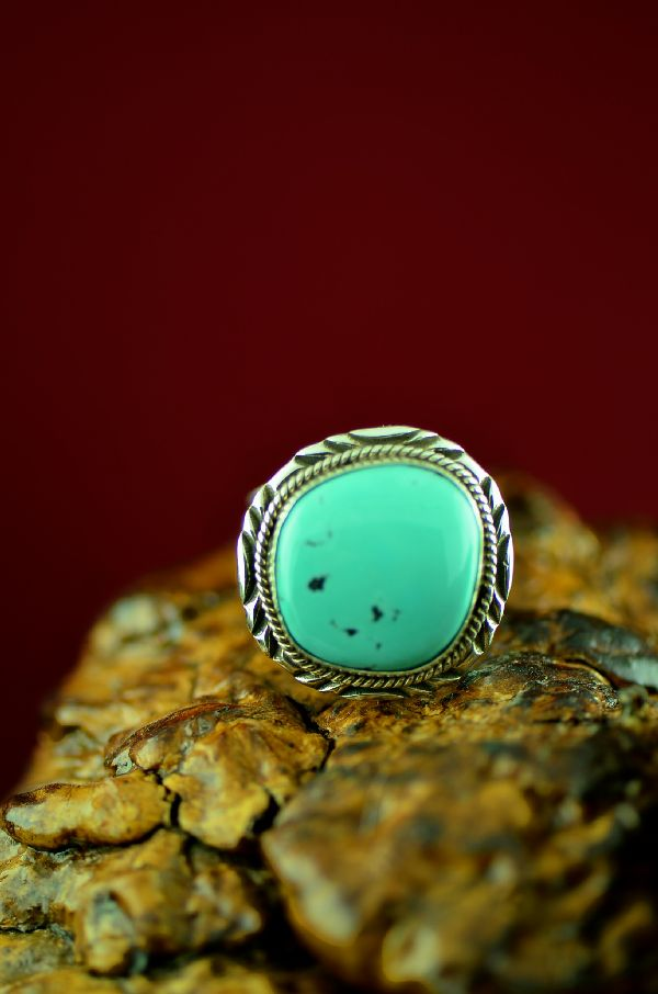 Navajo Sterling Silver Blue Moon Turquoise Ring by Will Denetdale Size 12