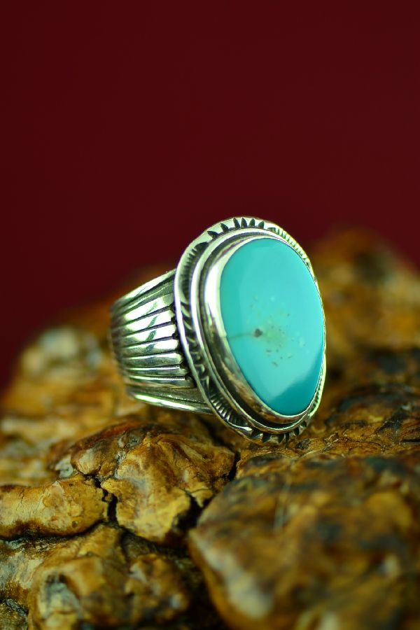Navajo Sterling Silver Royston Turquoise Ring by Will Denetdale Size 9