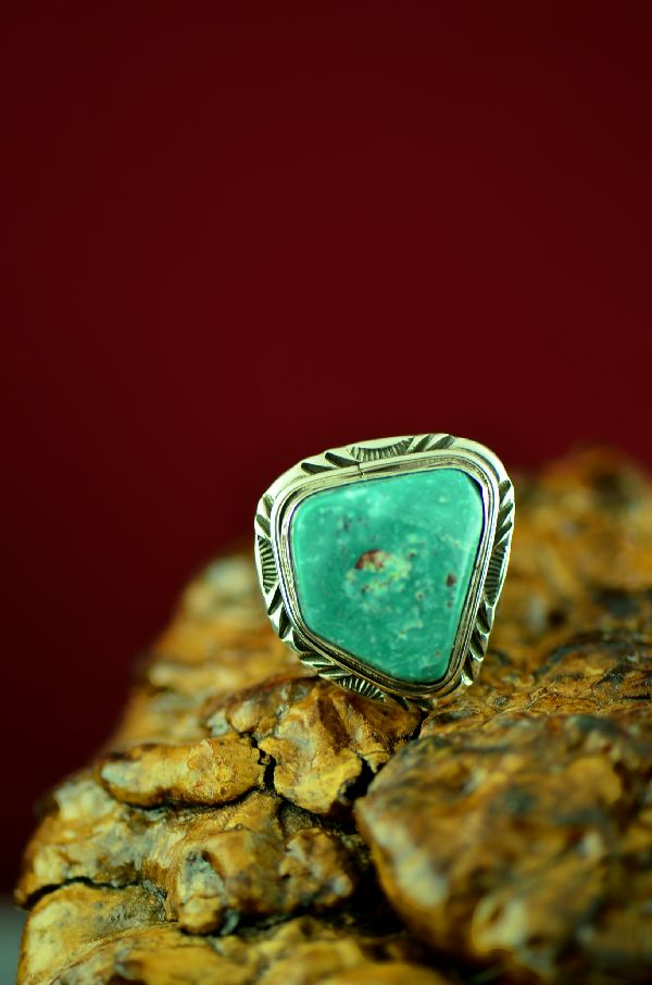 Navajo Sterling Silver Fox Turquoise Ring by Will Denetdale Size 10