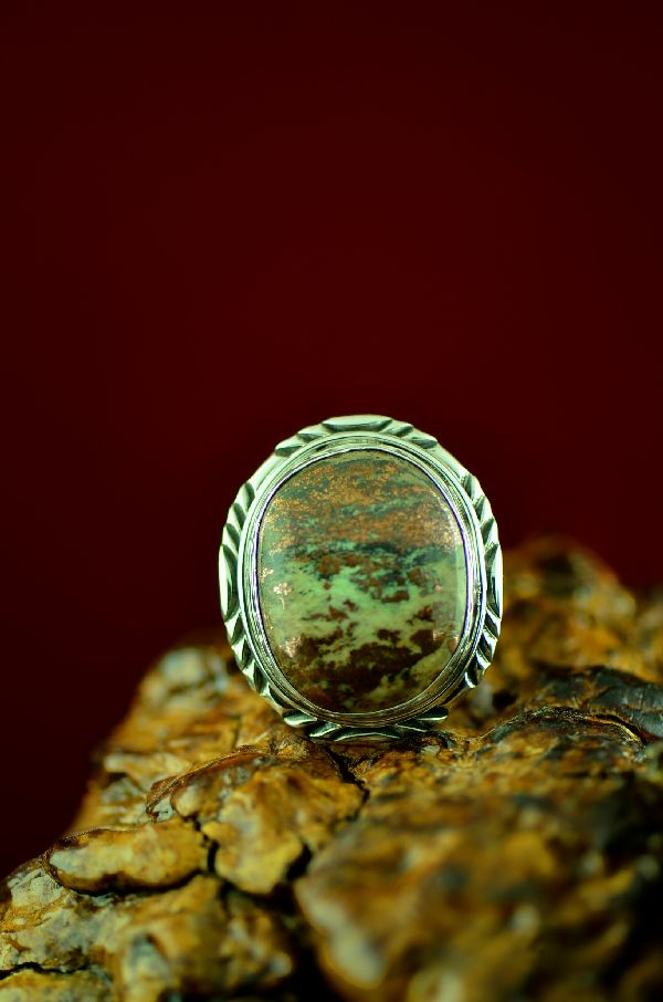 Navajo Sterling Silver Bisbee Cambellite Ring by Will Denetdale Size 12