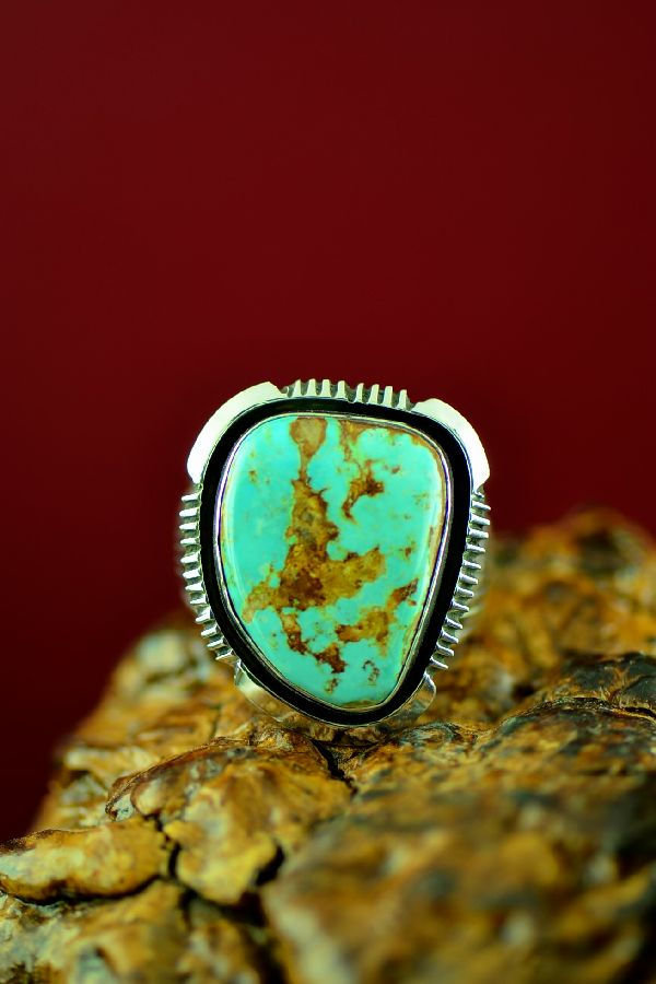 Navajo Darling Darlene Turquoise Sterling Silver Ring by Will Denetdale Size 14 1/2