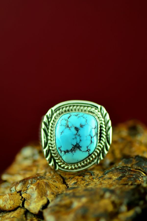 Navajo Sterling Silver Kingman Turquoise Ring by Will Denetdale Size 12