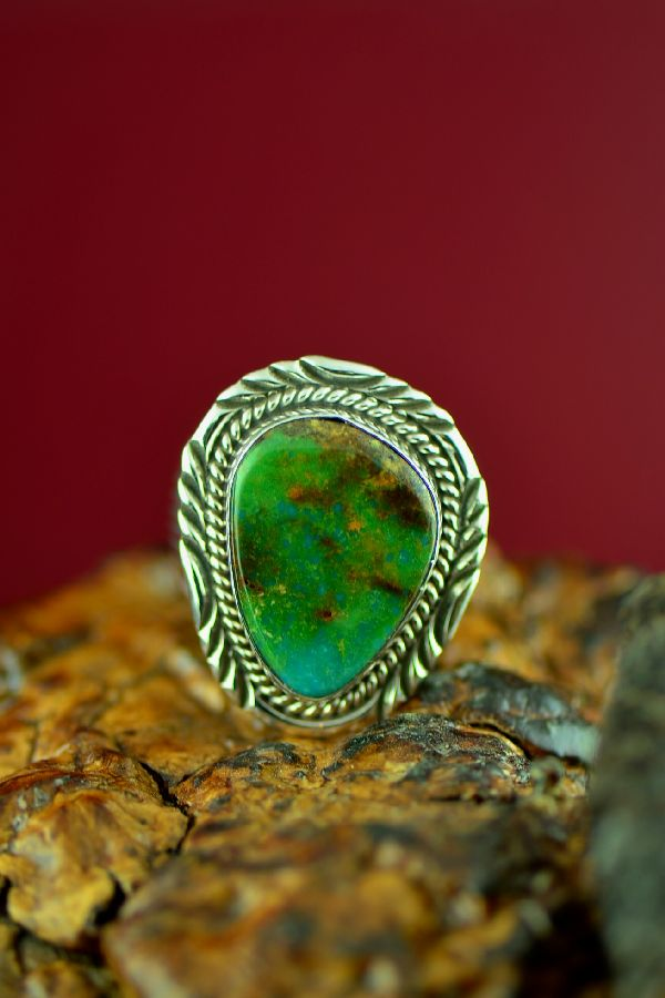 Navajo Sterling Silver Royston Turquoise Ring by Will Denetdale Size 11 1/4