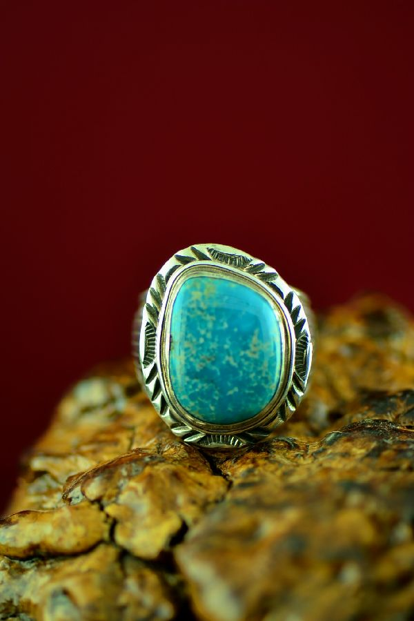 Navajo Sterling Silver Blue Gem Turquoise Ring by Will Denetdale Size 10 1/4