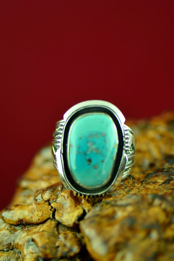 Navajo Sterling Silver Morenci Turquoise Ring by Will Denetdale Size 12